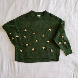 H&M Green Crewneck Sweater w/Gold Insects Size M